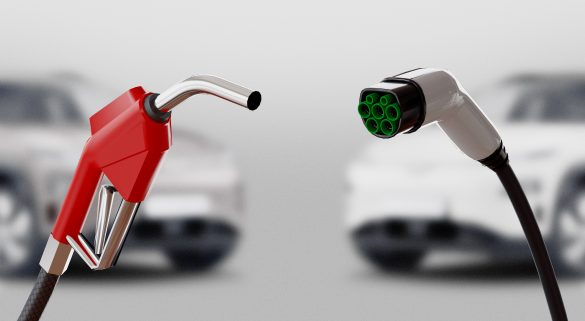 a diesel pump and an electric charger